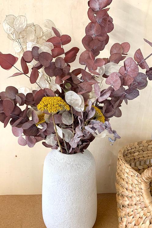 bouquet eucalyptus rouge, achillé, monnaie du pape