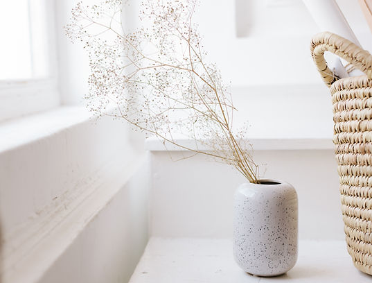beautiful stylish white vase. dried flow