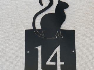 Plaque personnalisée numéro de maison CHAT 14