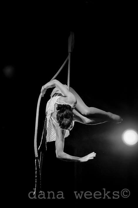 Woman doing aerial rope