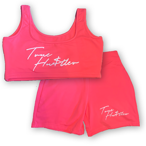 True Hustler tank crop top short set
