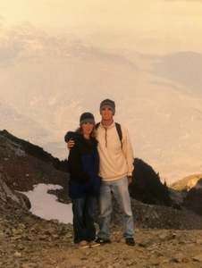 Jed Dorsey, artist, with wife, Renae, in Whistler, BC when he started painting again and got started in acrylics. Acryliclikeaboss