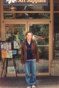 Jed Dorsey's wife, Renae, when he was starting in acrylics, standing outside of art store in Whistler, BC. Circa 2001