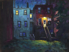 Jed Dorsey - Two Stories - 18x24 - SOLD