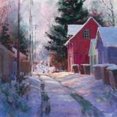 Jed Dorsey - Snowy Walk Home - 20x20 - SOLD