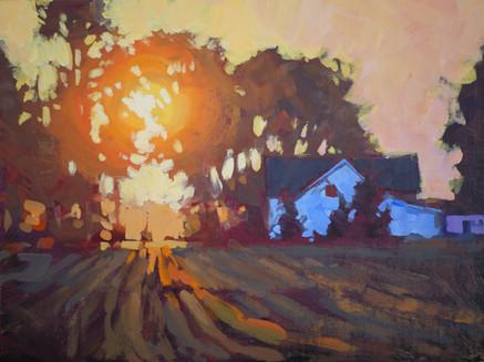 Jed Dorsey - Sunrise Over Farmhouse - 12x16 - SOLD