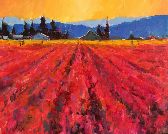 Giveaway Painting 5 - Tulip Fields - 11x14
