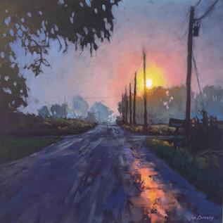 Jed Dorsey - Hazy Morning, Country Road - 20x20 - SOLD