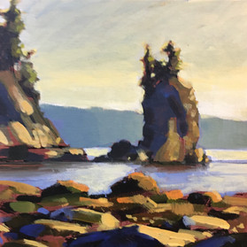 Giveaway Painting 4 - Seastack Rock - 6x6