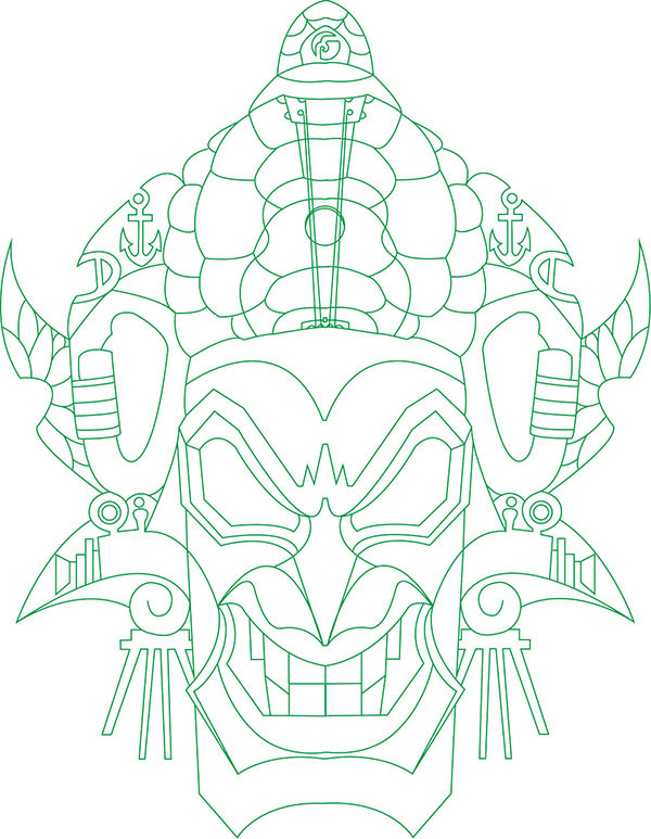 Karabiner Totem Tattoo Vorlage