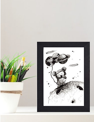 "Original Framed Pen and Ink ""Koalified for Space"""