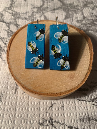 Buzzy Bee Hand Painted Wood Earrings