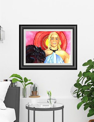 "Original Framed Watercolor ""Mother of Dragons"""