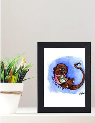 "Original Framed Watercolor ""Love the Earth"""