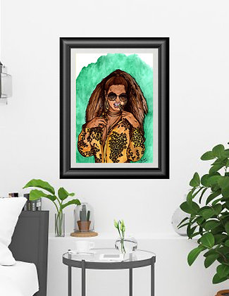 "Original Framed Watercolor ""Queen B"""