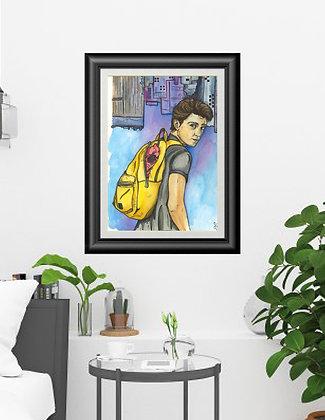 "Original Framed Watercolor ""Spiderman"""