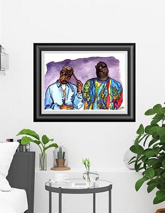 """Framed Original Watercolor """"Tupac and Biggie"""""""