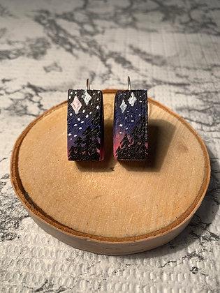 Night Sky Wood Earrings