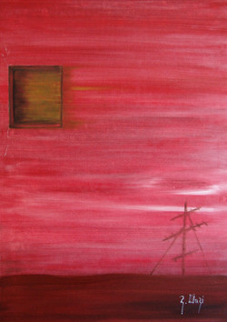 La vita scorre 3 trittico -olio su tela-