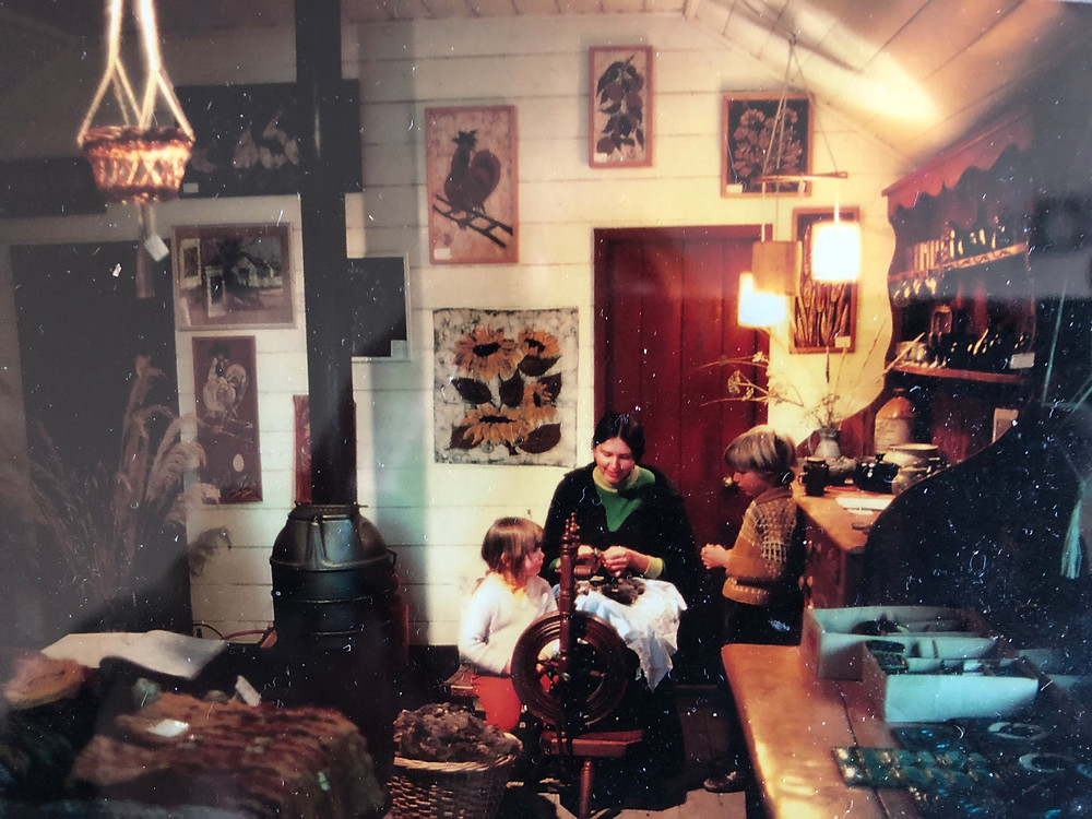 Sonia Richter and Eiko Jones as kids with their mum at Cardrona Hotel craft shop late 1970s