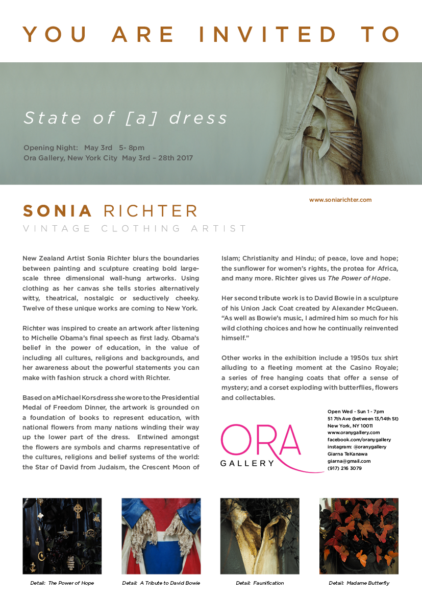 Artist Press Release Gallery invitation State of a Dress Sonia Richter Vintage Clothing Artist NZ artist goes to New York Behind the scences Artist Studio Pop Up exhibition