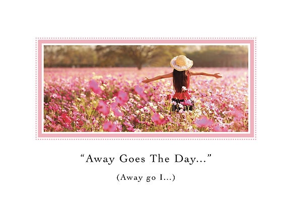 Away Goes the Day (Girl Running in Pink Flowers)