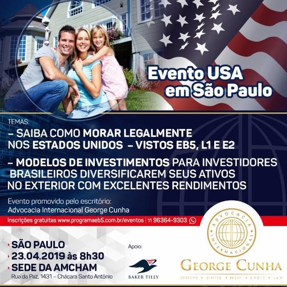 Primeiros eventos do visto EB5 em 2019. São Paulo e Curitiba.