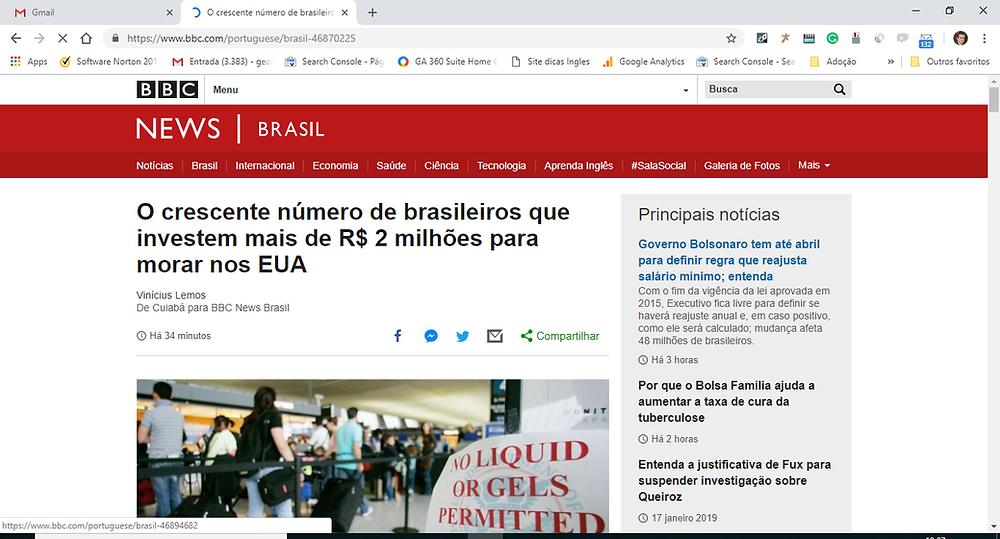 Visto EB5 George Cunha na BBC News Brasil
