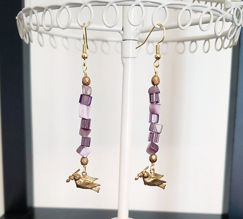 Amethyst & Brass Dove Earrings