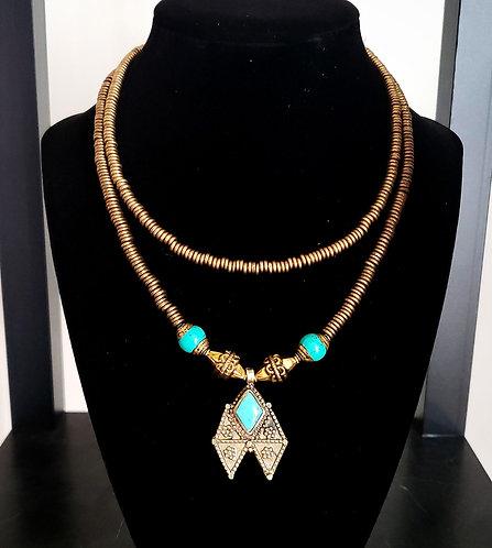 Brass & Turquoise Kuchi Necklace
