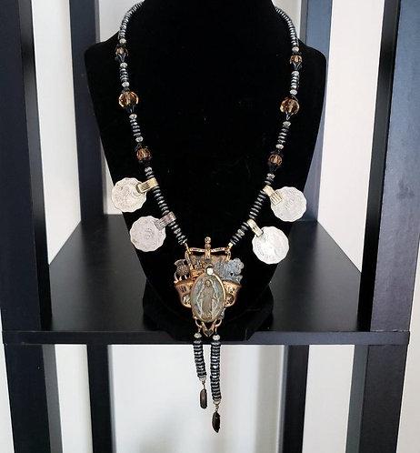 Virgin Mary Hematite Necklace