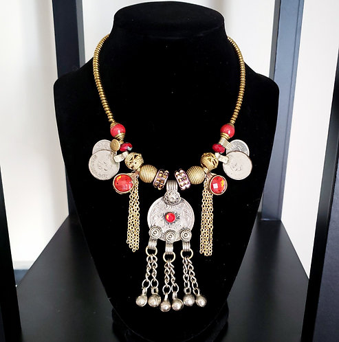 Red & Gold Kuchi Charm Necklace