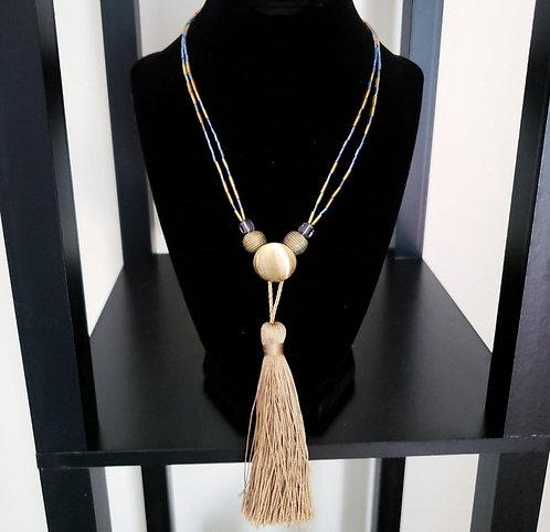Blue & Gold Tassel Necklace