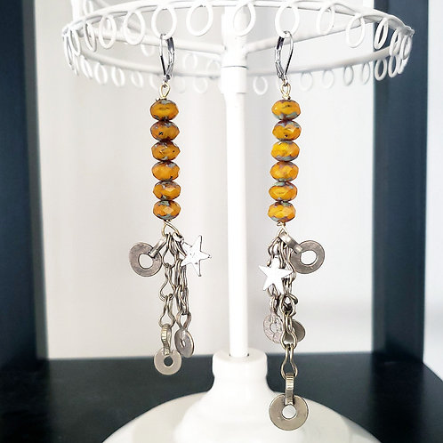 Yellow Czech Bead Indian Charm Earrings