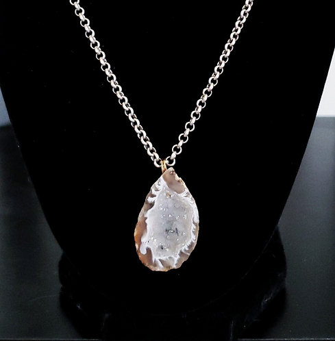 Light Gray Druzy Crystal Geode Necklace