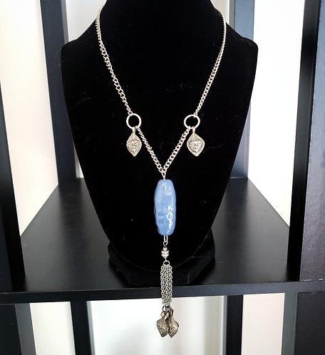 Blue Kazuri Bead Kuchi Charm Necklace