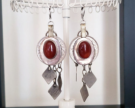 Red Agate Vintage Coin Earrings