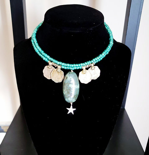Teal Kazuri Bead Necklace