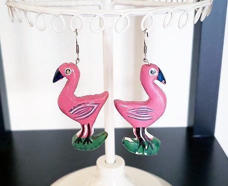 Wooden Flamingo Earrings