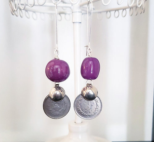 Purple Kazuri Bead Earrings