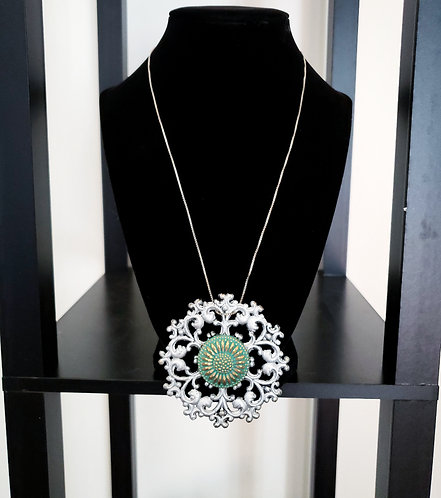Silver & Antique Green Medallion Necklace