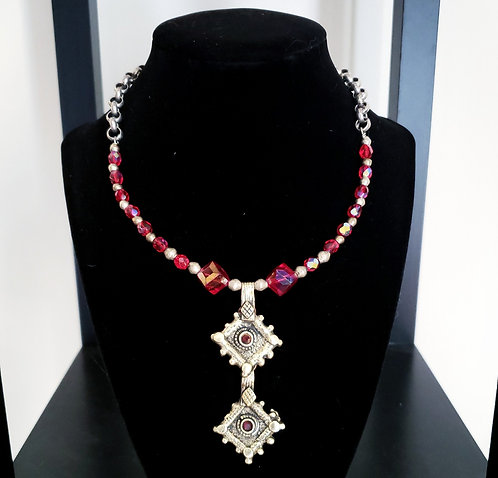 Red & Silver Kuchi Charm Necklace
