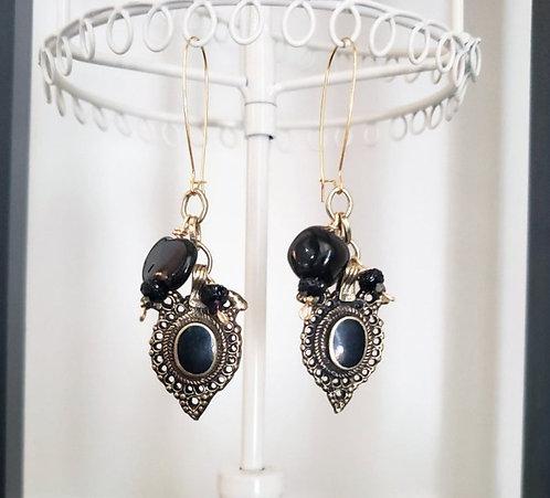 Black Kuchi Charm & Kazuri Bead Earrings