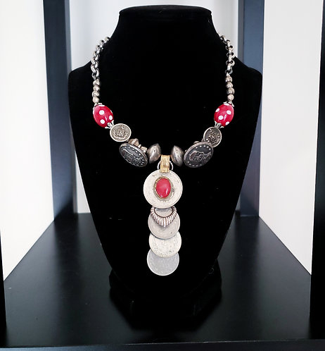 Red & Silver Coin Button Necklace