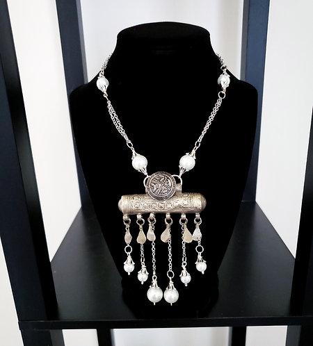 Kuchi Prayer Bead & Pearl Necklace