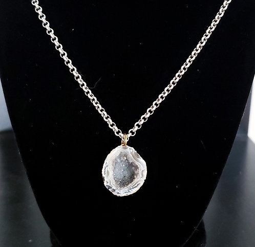 Gray Druzy Crystal Geode Necklace