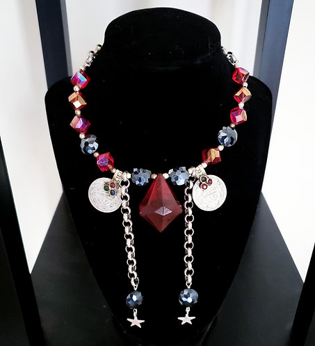 Red Jewel Coin Necklace