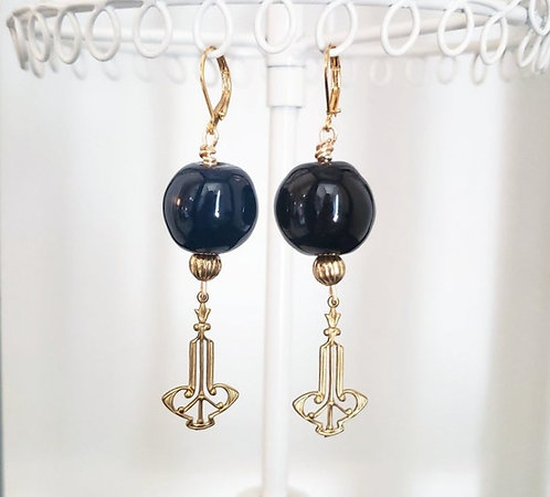 Black Kazuri Bead Earrings