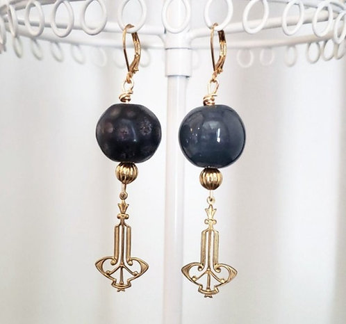Charcoal Gray Kazuri Bead Earrings