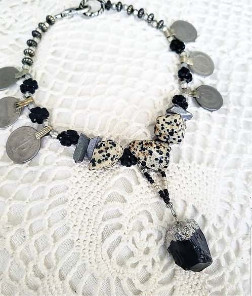 Obsidian & Dalmatian Jasper Necklace